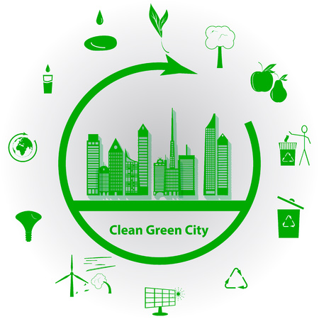 abstract mill: illustration of a concept green clean city, flat style