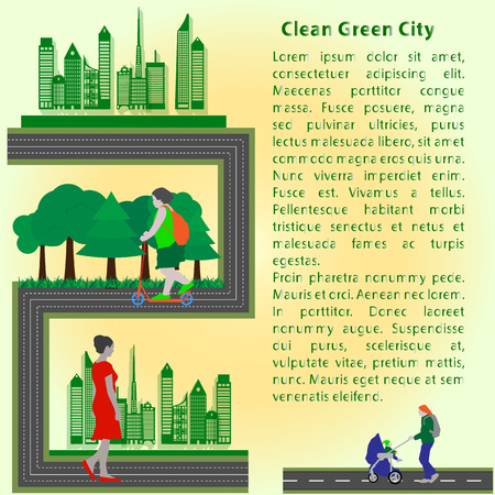 stroll: Concept booklet green clean city to stroll and relax people, flat style