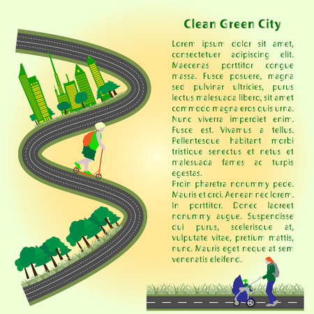 stroll: Concept booklet green clean city to stroll and relax father and child, flat style