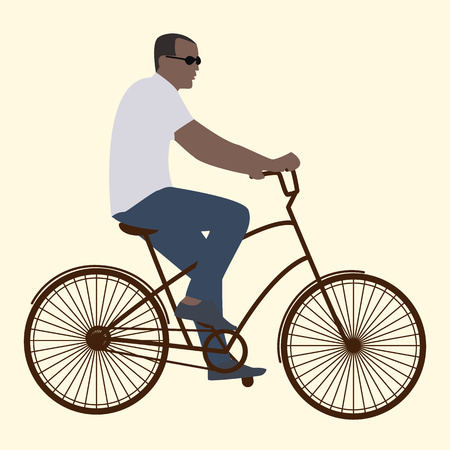 bicycler: Summer activities male cyclist in black glasses riding a bike flat style