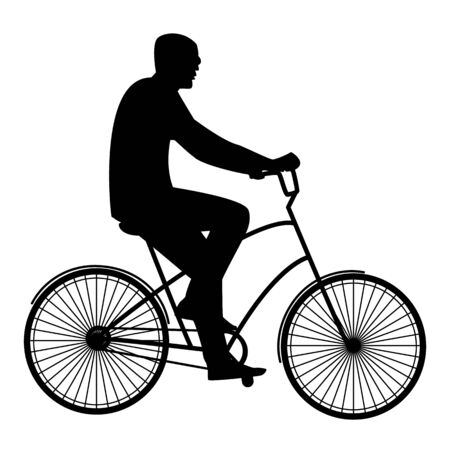 bicycler: Summer activities male cyclist resting flat style Illustration