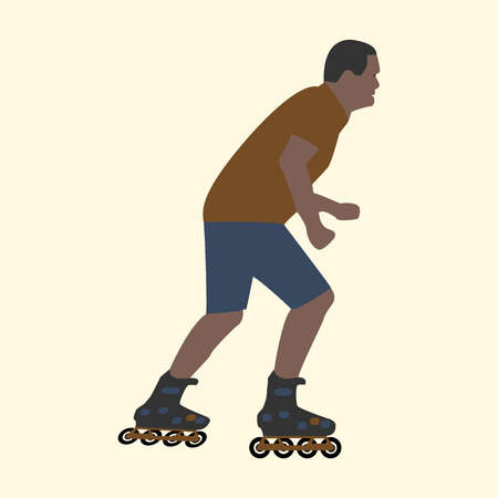 roller skating: Summer activities man on roller skates flat style