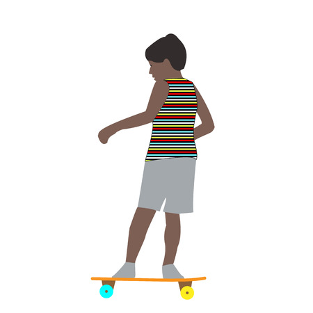 Vector illustration of a little boy in a striped t-shirt skateboarding fast rides in the summer flat style Illustration