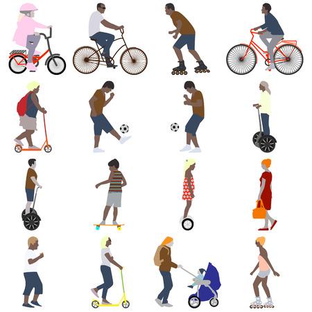 ilustración vectorial de un conjunto de dieciséis imágenes en color de personas activas en los veraneantes en la calle en el estilo plano de la ciudad