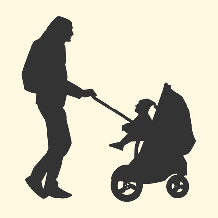 fatherhood: Vector illustration of a silhouette of a father with a backpack carries a child in a stroller flat style