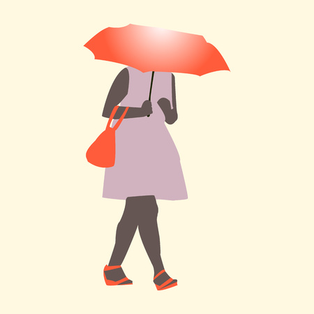 Vector illustration of a girl walking in the rain with an umbrella and bag in pink and orange tones, flat style Illustration