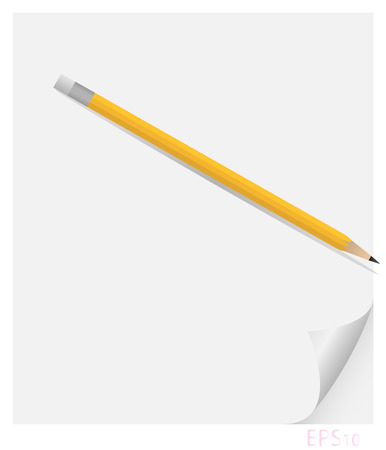 Vector illustration of a sheet of paper with curl on which lies a pencil cast shadows