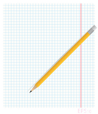 Vector illustration of notebook sheet of paper in the box with the fields on which lies a pencil cast shadows Ilustração