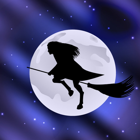 Vector Illustration Of A Witch On A Broomstick Flying Halloween