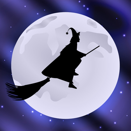 broomstick: Vector illustration of a witch on a broomstick flying halloween holiday moon in the starry sky