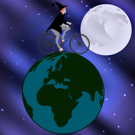 moonlit: Vector illustration of a witch riding a bicycle across the globe on a moonlit night