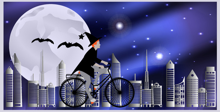 flying bats: Vector illustration Cards for Halloween. Witch riding a bicycle, followed by flying bats flying over the city on a moonlit night.