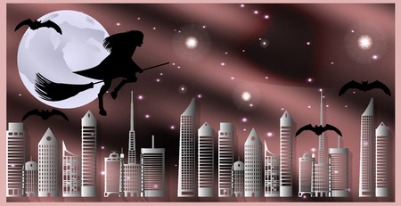 moonlit: Vector illustration postcard for Halloween. Witch on a broom and bats are flying over the city on a moonlit night