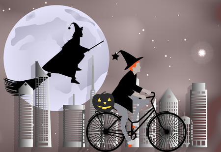 Vector illustration of a witch riding a bike around the city and the witch flying on a broom over the city in celebration of Halloween