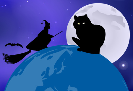 moonlit: Vector illustration of a black cat sitting on the globe and a witch flying over it on a moonlit night in celebration of Halloween Illustration