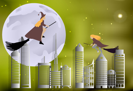 Vector illustration of a witch flying over the city on broomsticks on a moonlit night in Halloween celebration