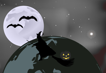 moonlit: Vector illustration of bats and a witch with a pumpkin flying over the globe on a moonlit night in Halloween celebration