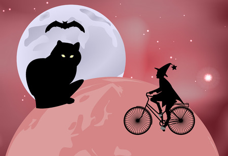 moonlit: Vector illustration of a large black cat sitting on the globe and the witch rides around the globe on a bicycle on a moonlit night in Halloween celebration