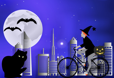 moonlit: Vector illustration of a witch on a bicycle carries a pumpkin for a large black cat on a moonlit night in Halloween celebration Illustration