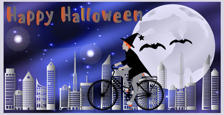 moonlit: Vector illustration Cards for Happy Halloween. Witch riding a bicycle, followed by flying bats flying over the city on a moonlit night.