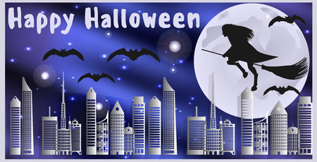 moonlit: Vector illustration postcard for Happy Halloween. Witch on a broom and bats are flying over the city on a moonlit night