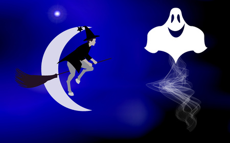 came: Vector illustration of a witch on a broom and flying ghosts lit bright moon came the holiday Halloween