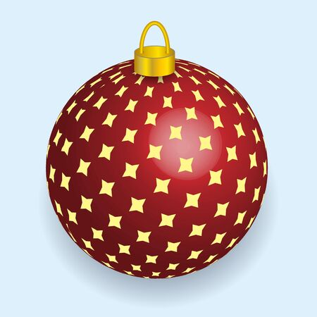 Vector illustration of red with yellow stars Christmas ball reflecting light New Year lights Illustration