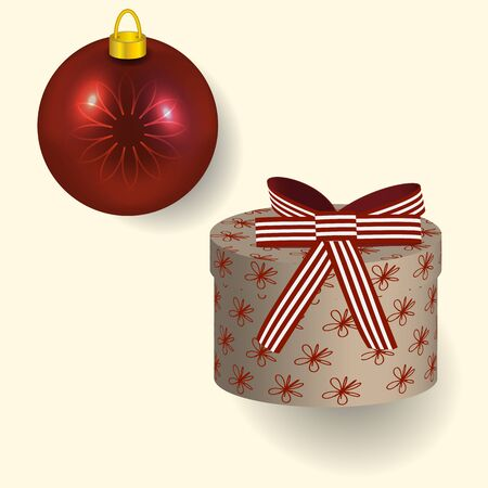 Vector illustration in red colors Christmas gift with bow and tree ball reflecting New year lights