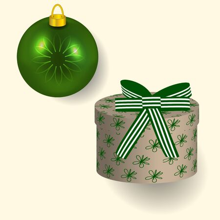 Vector illustration in green colors Christmas gift with bow and tree ball reflecting New year lights
