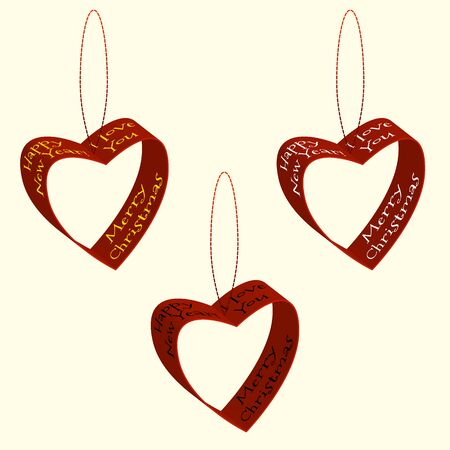 love declarations: Vector illustration of spruce decorations of hearts ribbons Christmas and New Year labels and declarations of love