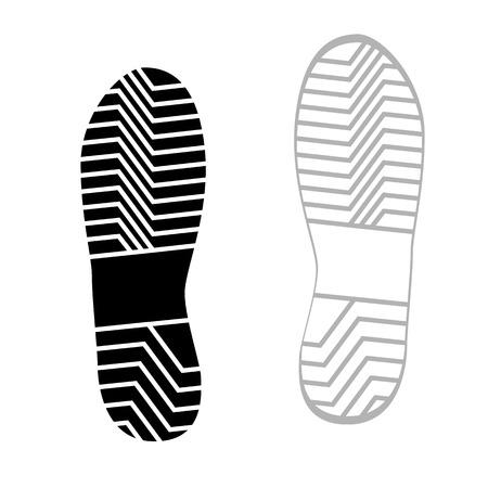 rough: Vector illustration prints rough shoe, flat style.