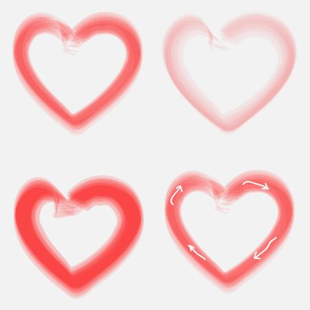 smeared: Vector illustration of four circuits smeared red heart on the day of Valentine.