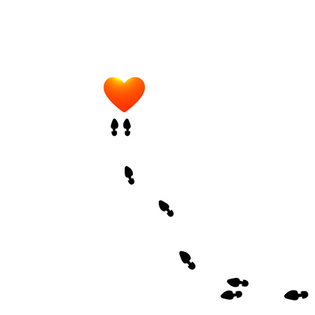 Traces of human shoes placed around the flaming heart, flat style info-graphics. Illustration