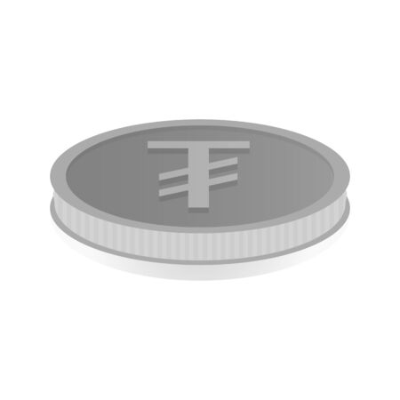 shiny argent: illustration of a silver coin with symbol of tugrik.