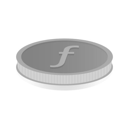 florin: illustration of a silver coin with symbol of florin, forint.