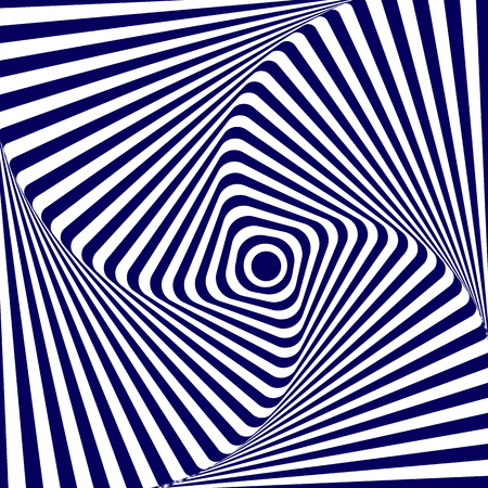 Vector illustration blue white geometric background of increasing and rotating a square with rounded corners, creating an optical illusion.