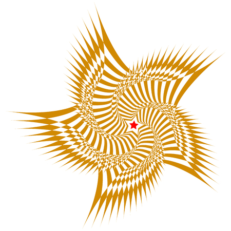 Vector illustration of a brown sweeping pattern with red five-pointed star in the center on a white background creates an optical illusion