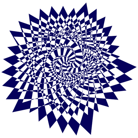 Vector illustration of blue sweeping pattern of the five-pointed star on a white background creates an optical illusion Illustration