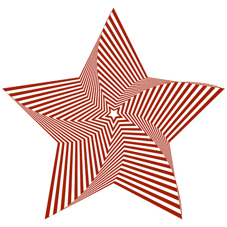 Vector illustration of distorted red five-pointed star on a white background creates an optical illusion