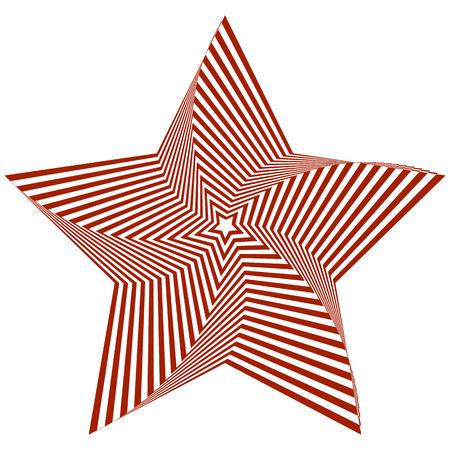 Illustration vectorielle d'étoile à cinq branches rouge déformée sur fond blanc crée une illusion d'optique