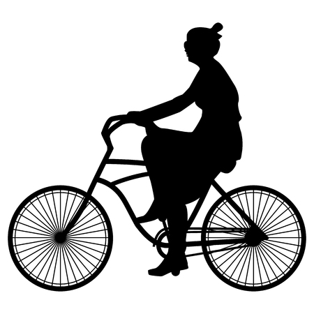 Vector illustration of black silhouette spring walking woman cyclist in a dress and sunglasses riding a bicycle on a white background, flat style