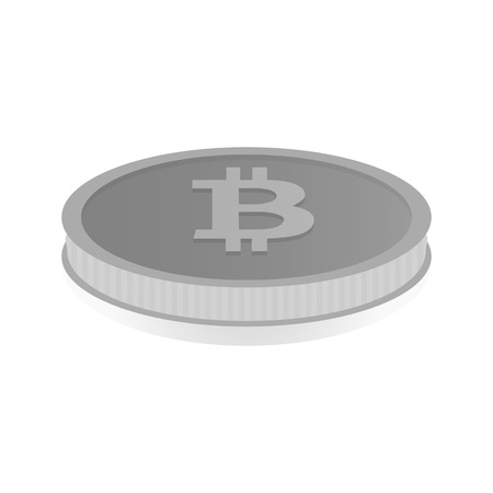 shiny argent: Vector illustration of a silver coin with the symbol cryptocurrency Bitcoin.