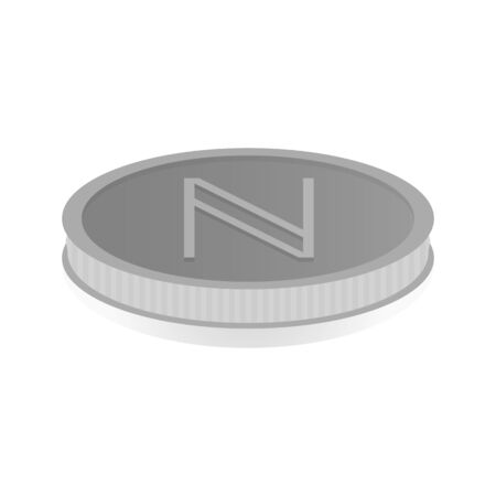 shiny argent: Vector illustration of a silver coin with a cryptomanate symbol Namecoin. Illustration