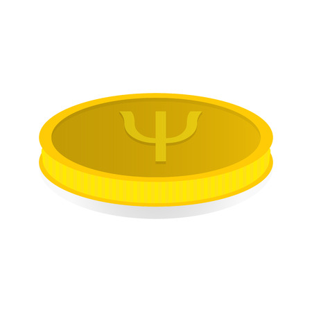 Vector illustration of a gold coin with the symbol cryptocurrency Primecoin. Illustration