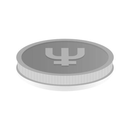 shiny argent: Vector illustration of a silver coin with the symbol cryptocurrency Primecoin. Illustration