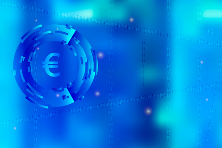 Picture with blurred layout illustration of movement in digital business with binary code and currency sign symbol in bright blue color. Illustration