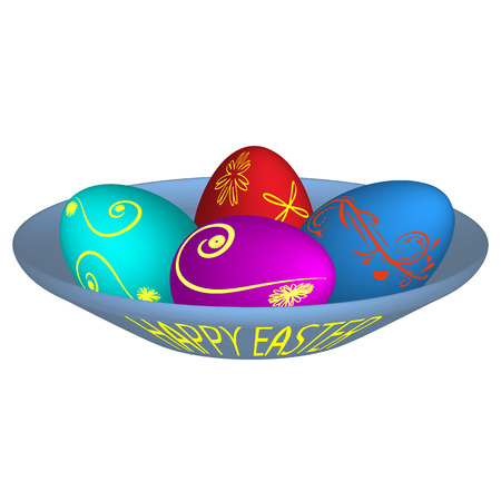 interesting: Vector illustration of four Easter eggs painted with different cheerful colors lying on a blue plate with an inscription happy easter.