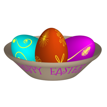 Vector illustration of three Easter eggs painted with different cheerful colors lying on a brown plate with the inscription happy easter.