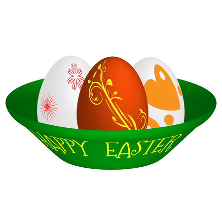 Vector illustration of three Easter eggs painted with different cheerful colors, lying on a green plate with yellow inscription happy easter. Illustration