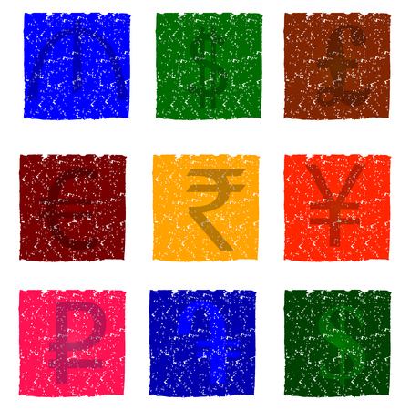 dram: Vector illustration of multicolored grunge icons with images of currency symbols of different countries, for exchange office.